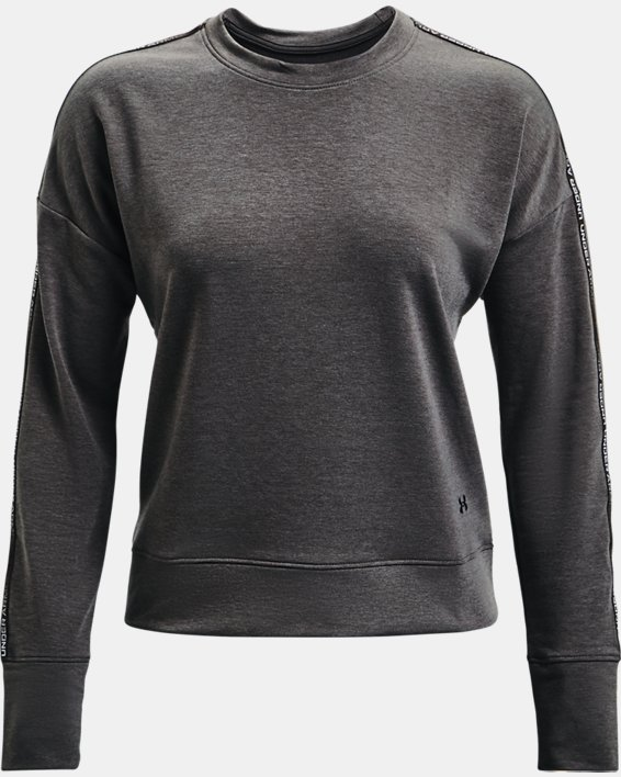 Women's UA Rival Terry Taped Crew, Gray, pdpMainDesktop image number 4