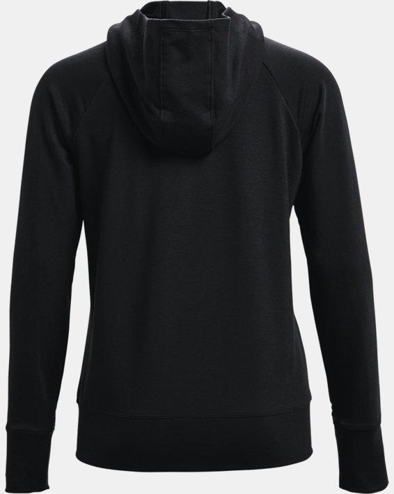 Women's UA Rival Terry Taped Full Zip Hoodie, Black, pdpMainDesktop image number 4