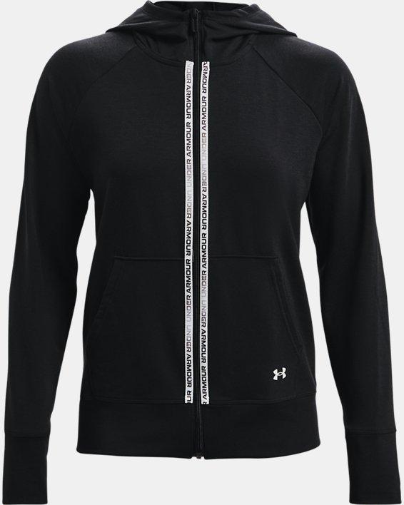 Women's UA Rival Terry Taped Full Zip Hoodie, Black, pdpMainDesktop image number 3