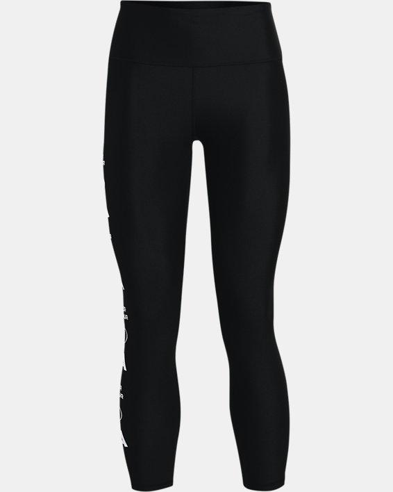 Women's HeatGear® Armour No-Slip Waistband Graphic Ankle Leggings, Black, pdpMainDesktop image number 4