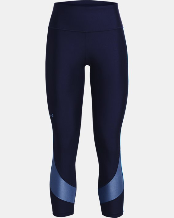 Women's HeatGear® Armour No-Slip Waistband Taped Ankle Leggings, Navy, pdpMainDesktop image number 4