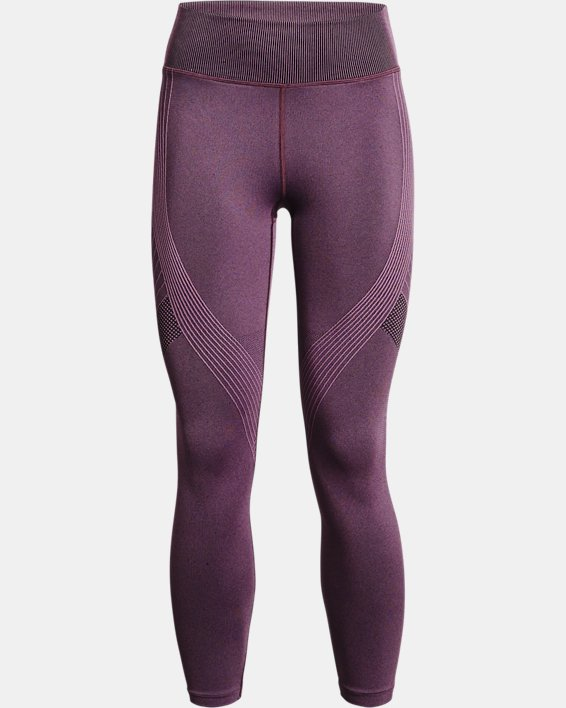 Women's UA RUSH™ Seamless Ankle Leggings, Purple, pdpMainDesktop image number 4