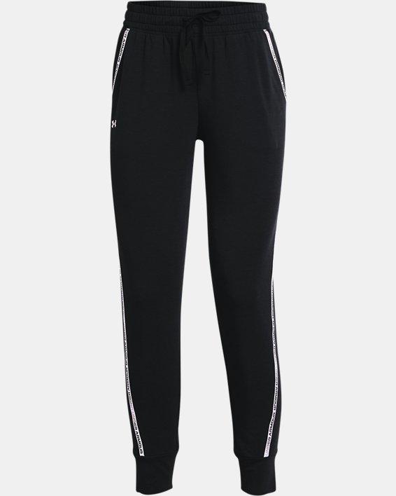 Women's UA Rival Terry Taped Pants, Black, pdpMainDesktop image number 4