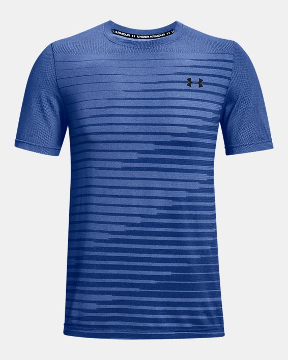 Men's UA Seamless Fade Short Sleeve, Blue, pdpMainDesktop image number 4
