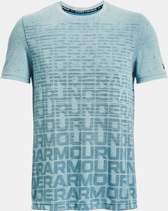 Men's UA Seamless Wordmark Short Sleeve, Blue, pdpMainDesktop image number 4