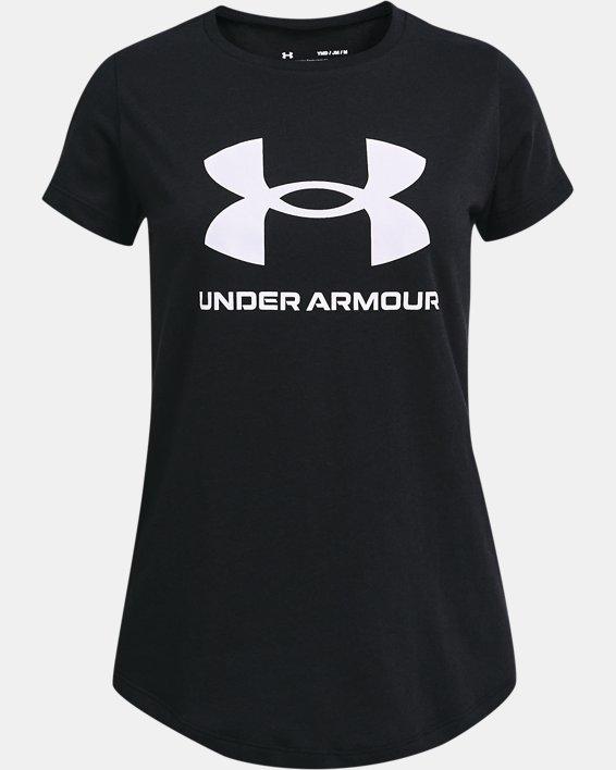 Girls' UA Sportstyle Graphic Short Sleeve, Black, pdpMainDesktop image number 0