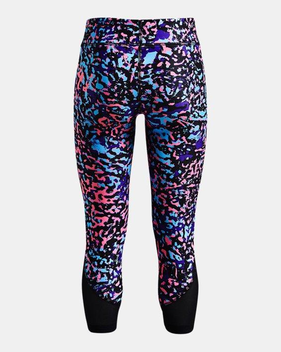 Girls' HeatGear® Armour Printed Ankle Crop, Black, pdpMainDesktop image number 1