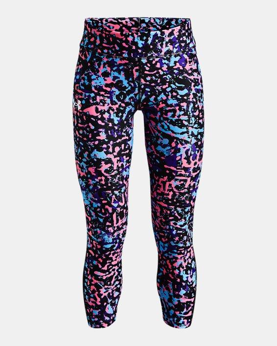 Girls' HeatGear® Armour Printed Ankle Crop, Black, pdpMainDesktop image number 0
