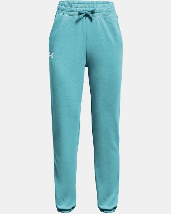 Girls' UA Rival Terry Taped Pants, Blue, pdpMainDesktop image number 0