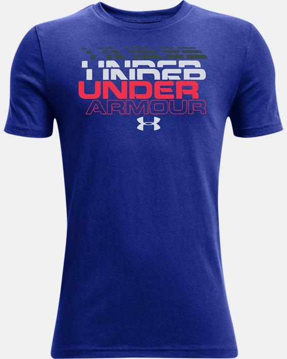 Boys' UA Branded Short Sleeve, Blue, pdpMainDesktop image number 0