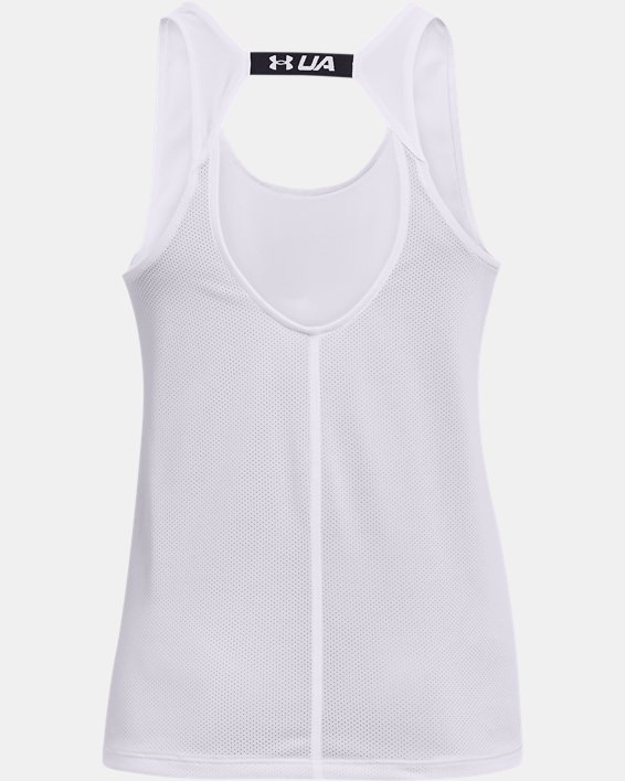 Women's UA Fly-By Tank, White, pdpMainDesktop image number 4
