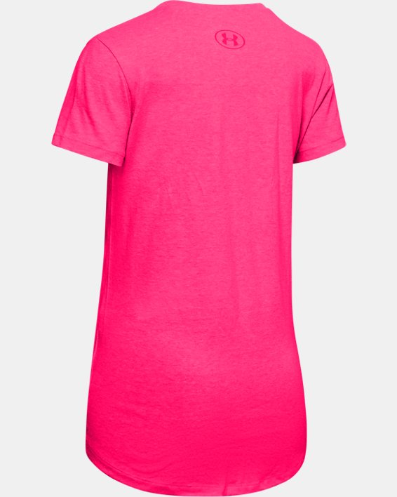 Girls' UA Big Logo Metallic Short Sleeve, Pink, pdpMainDesktop image number 1