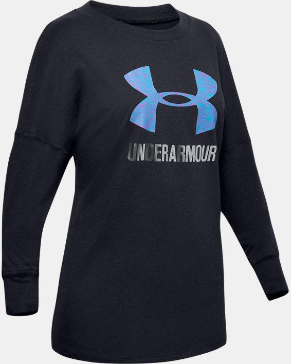 Girls' UA Big Logo Energy Print Long Sleeve, Black, pdpMainDesktop image number 0