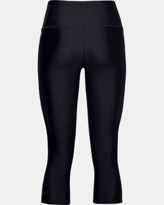 Women's HeatGear® Armour Print Inset Capris, Black, pdpMainDesktop image number 4