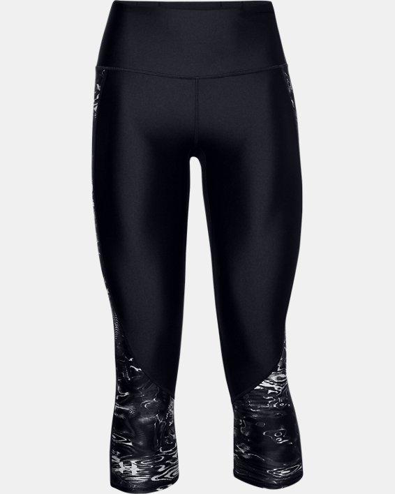 Women's HeatGear® Armour Print Inset Capris, Black, pdpMainDesktop image number 3