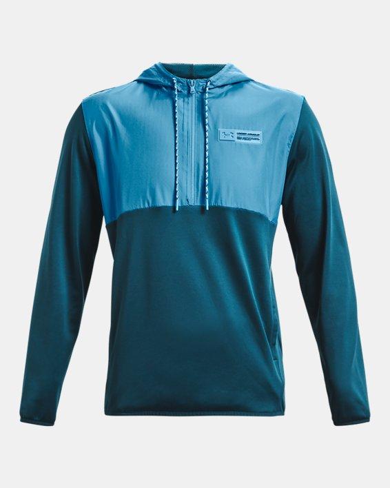 Men's Armour Fleece® Storm ½ Zip Hoodie, Blue, pdpMainDesktop image number 5