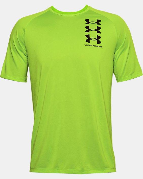 Men's UA Tech™ Triple Logo Short Sleeve, Green, pdpMainDesktop image number 4