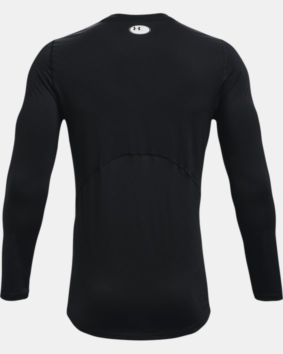Men's HeatGear® Armour Fitted Long Sleeve, Black, pdpMainDesktop image number 4