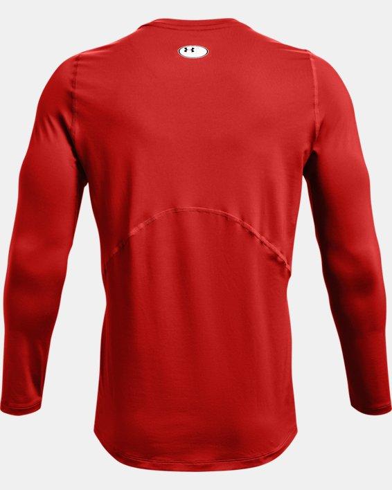 Men's HeatGear® Armour Fitted Long Sleeve, Orange, pdpMainDesktop image number 4