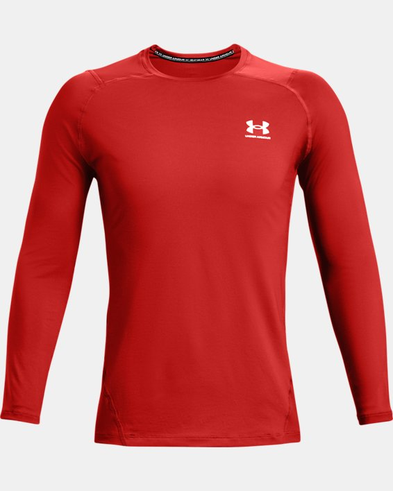 Men's HeatGear® Armour Fitted Long Sleeve, Orange, pdpMainDesktop image number 3
