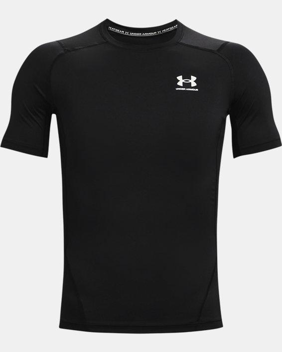 Men's HeatGear® Armour Short Sleeve, Black, pdpMainDesktop image number 3