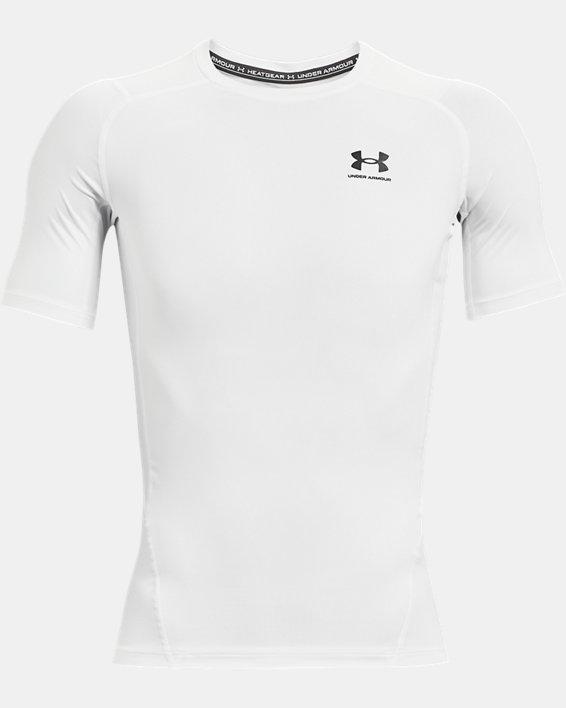 Men's HeatGear® Armour Short Sleeve, White, pdpMainDesktop image number 3