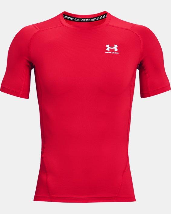 Men's HeatGear® Armour Short Sleeve, Red, pdpMainDesktop image number 4