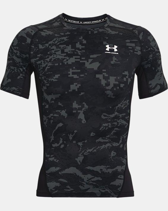 Men's HeatGear® Armour Camo Short Sleeve, Black, pdpMainDesktop image number 3