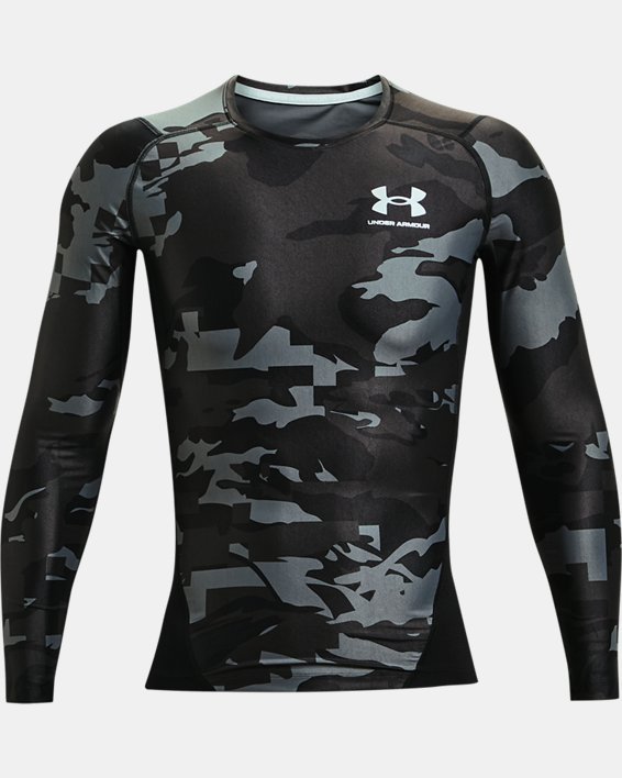 Men's UA Iso-Chill Compression Printed Long Sleeve, Black, pdpMainDesktop image number 4