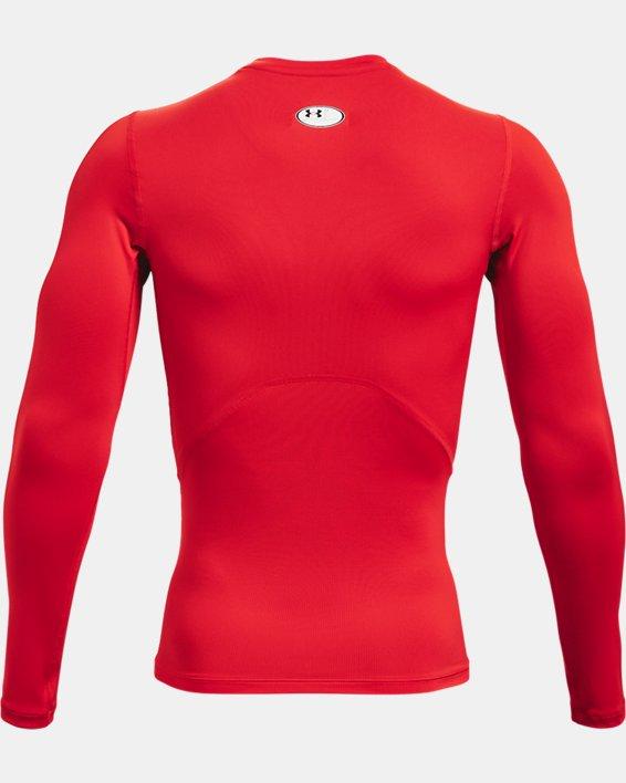 Men's HeatGear® Armour Long Sleeve, Red, pdpMainDesktop image number 4