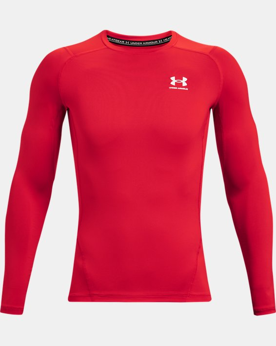 Men's HeatGear® Armour Long Sleeve, Red, pdpMainDesktop image number 3