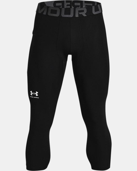 Men's HeatGear® Armour ¾ Leggings, Black, pdpMainDesktop image number 4