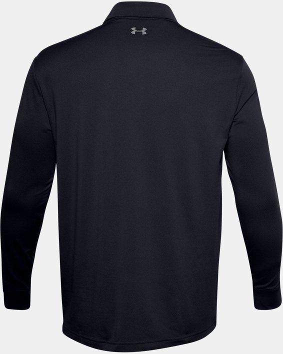 Men's UA Performance Textured Long Sleeve Polo, Black, pdpMainDesktop image number 6