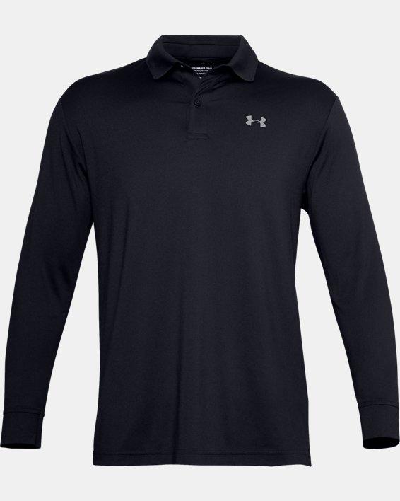 Men's UA Performance Textured Long Sleeve Polo, Black, pdpMainDesktop image number 5