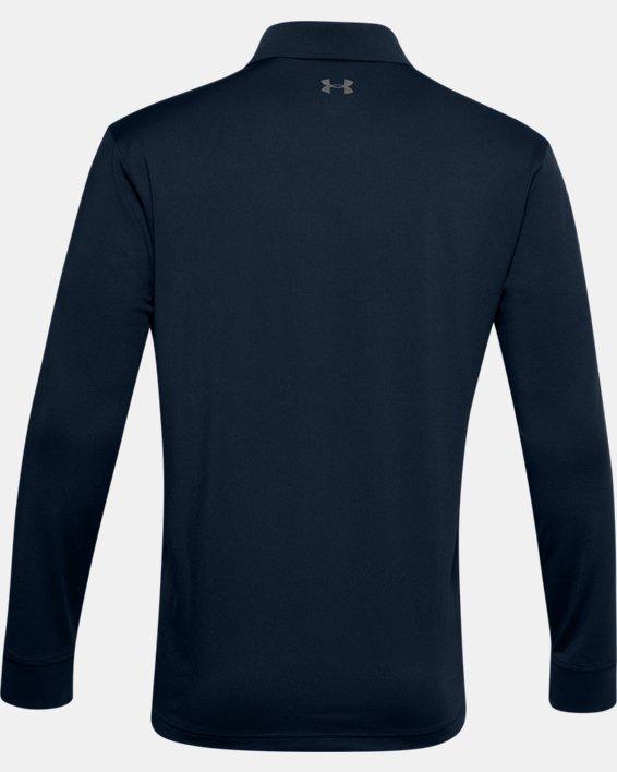 Men's UA Performance Textured Long Sleeve Polo, Navy, pdpMainDesktop image number 6