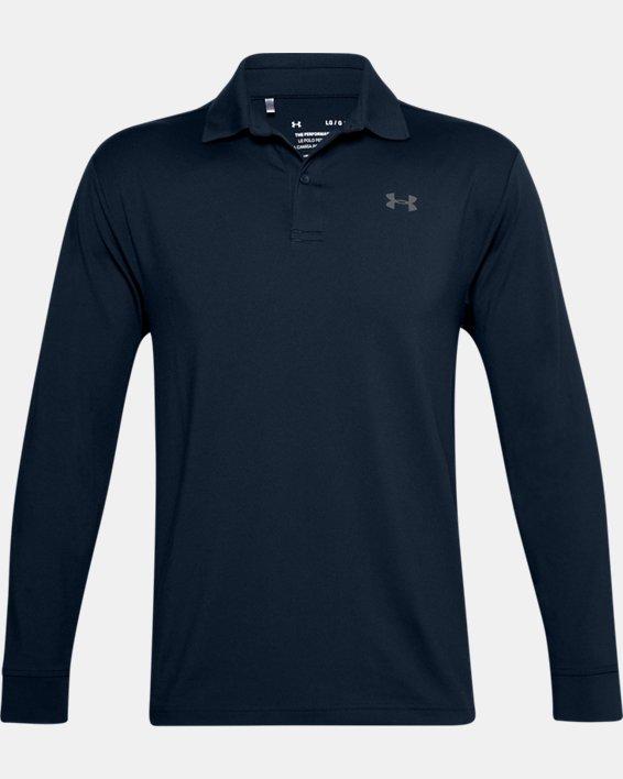 Men's UA Performance Textured Long Sleeve Polo, Navy, pdpMainDesktop image number 5