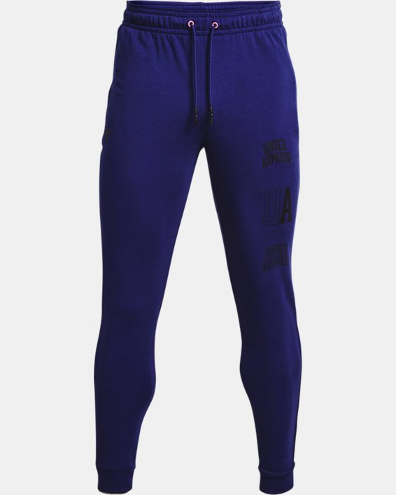 Men's UA Rival Terry Collegiate Joggers, Blue, pdpMainDesktop image number 4