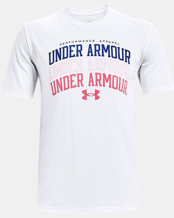 Men's UA Multi Color Collegiate Short Sleeve, White, pdpMainDesktop image number 4