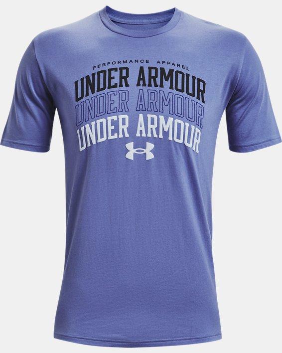 Men's UA Multi Color Collegiate Short Sleeve, Purple, pdpMainDesktop image number 4
