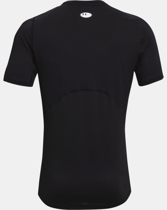 Men's HeatGear® Armour Fitted Short Sleeve, Black, pdpMainDesktop image number 4