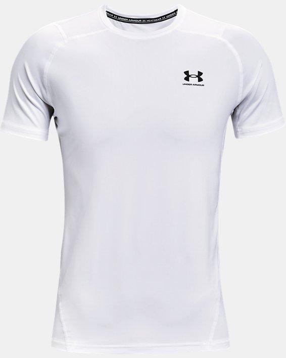 Men's HeatGear® Armour Fitted Short Sleeve, White, pdpMainDesktop image number 3