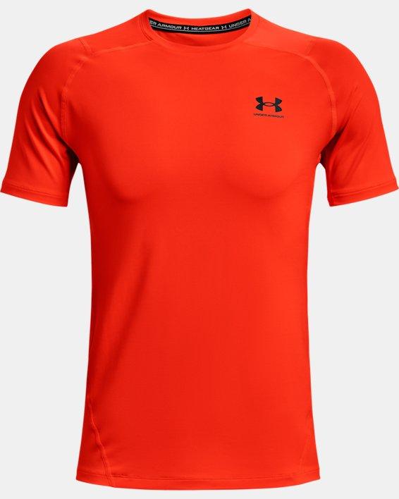 Men's HeatGear® Armour Fitted Short Sleeve, Orange, pdpMainDesktop image number 3