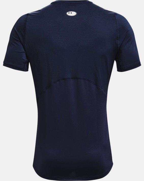 Men's HeatGear® Armour Fitted Short Sleeve, Navy, pdpMainDesktop image number 4