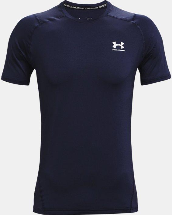 Men's HeatGear® Armour Fitted Short Sleeve, Navy, pdpMainDesktop image number 3