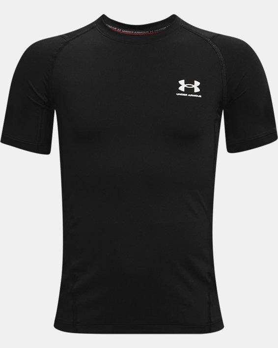 Boys' HeatGear® Armour Short Sleeve, Black, pdpMainDesktop image number 0