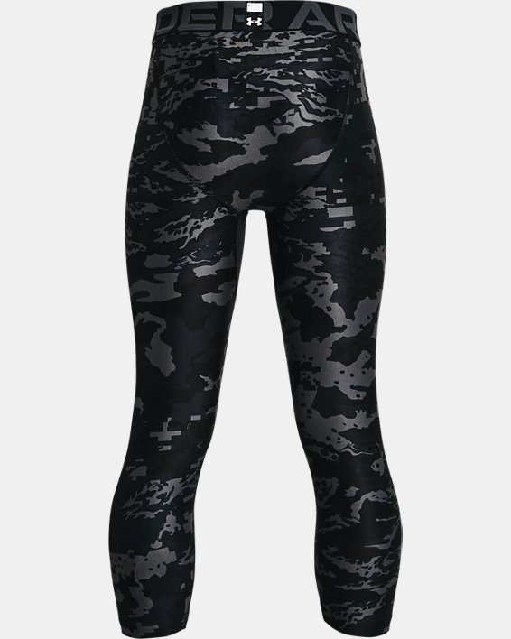 Boys' HeatGear® Armour Printed ¾ Leggings, Black, pdpMainDesktop image number 1