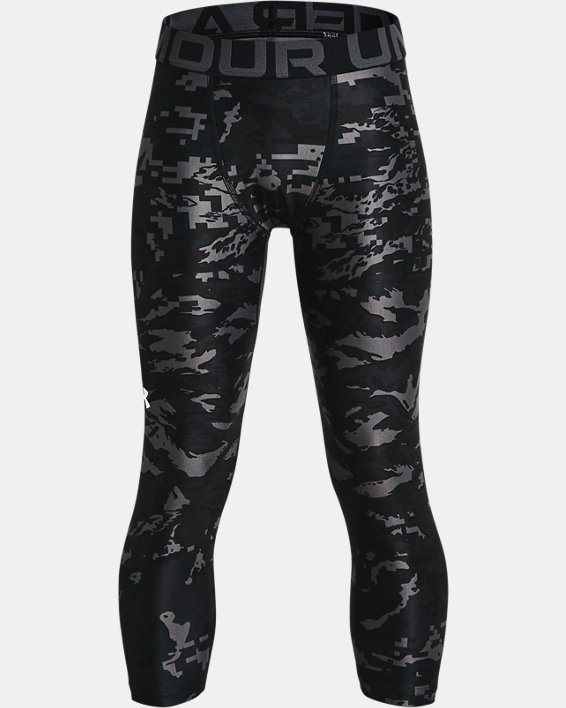 Boys' HeatGear® Armour Printed ¾ Leggings, Black, pdpMainDesktop image number 0