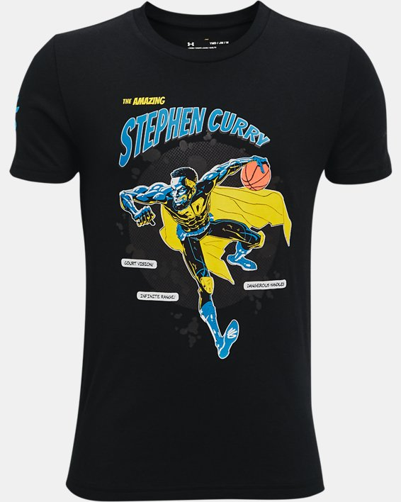 Boys' Curry Super Steph T-Shirt, Black, pdpMainDesktop image number 0