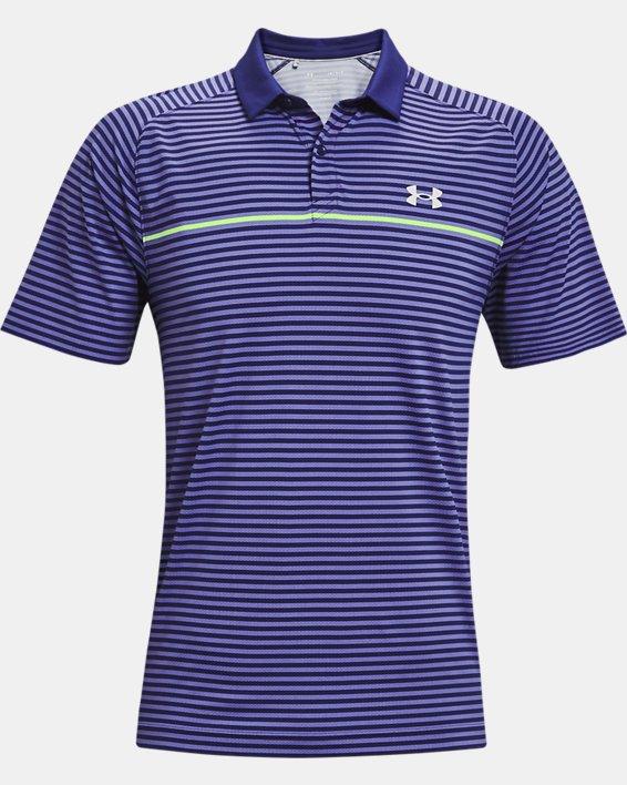 Men's UA Iso-Chill Hollen Stripe Polo, Blue, pdpMainDesktop image number 3