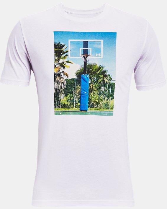 Men's UA Hoops Summer Daze T-Shirt, White, pdpMainDesktop image number 4